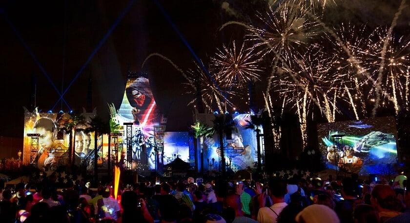 Show de fogos de artifício do Star Wars no Hollywood Studios na Disney em Orlando
