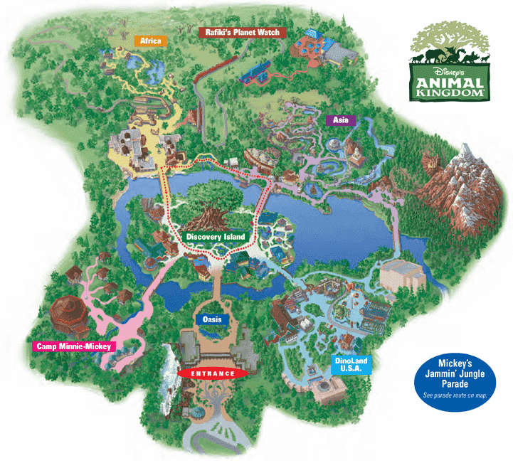 Mapa Parque Animal Kingdom na Disney em Orlando