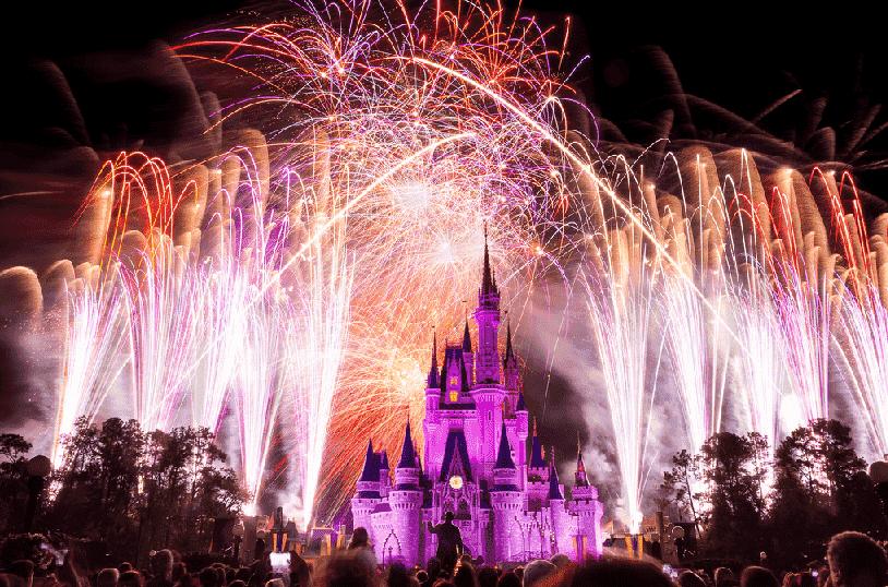 Fim do show de fogos Wishes da Disney em Orlando
