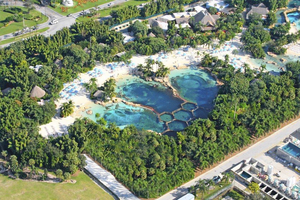 Vista aérea do parque Discovery Cove em Orlando