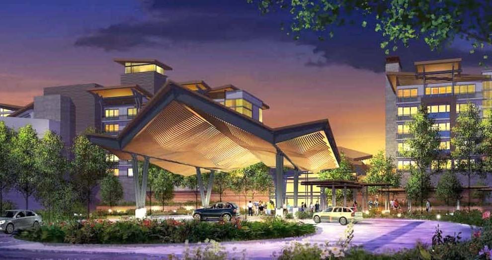 Arte conceitual da entrada do Hotel Reflections: A Disney Lakeside Lodge em Orlando